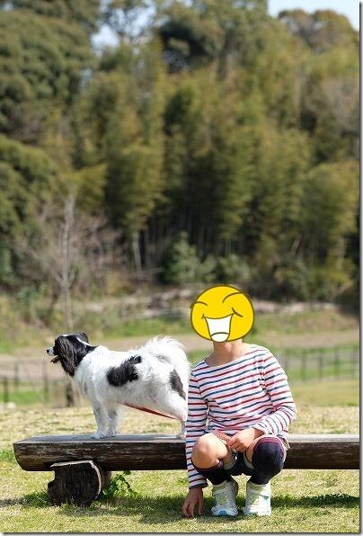 かなたけの里公園で子供と犬