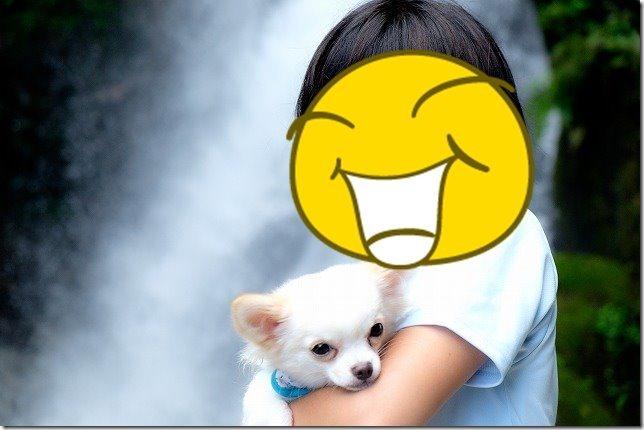 福岡市早良区,坊主ヶ滝で犬と子供で記念撮影