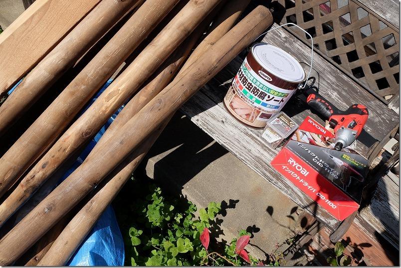 庭の柵(木製フェンス)と門をDIYで作成(使用木材)