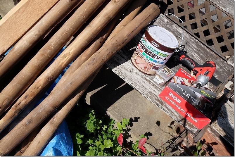 木製のフェンス(柵)をDIYで作り直す材料・工具