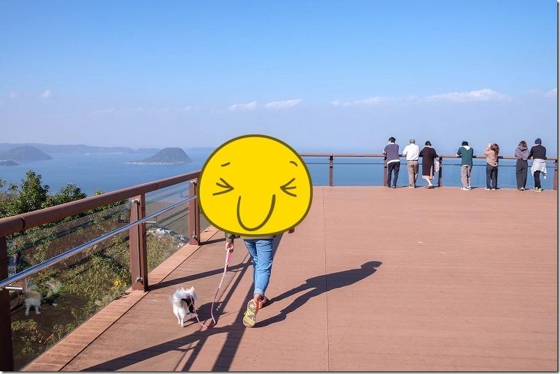 鏡山展望台へ到着、犬と